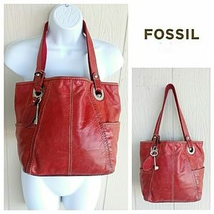 Fossil Red Leather Bucket Bag